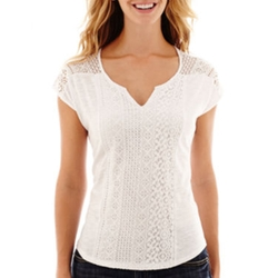 Split-Neck Mixed-Lace Knit T-Shirt by Liz Claiborne in Sleeping with Other People