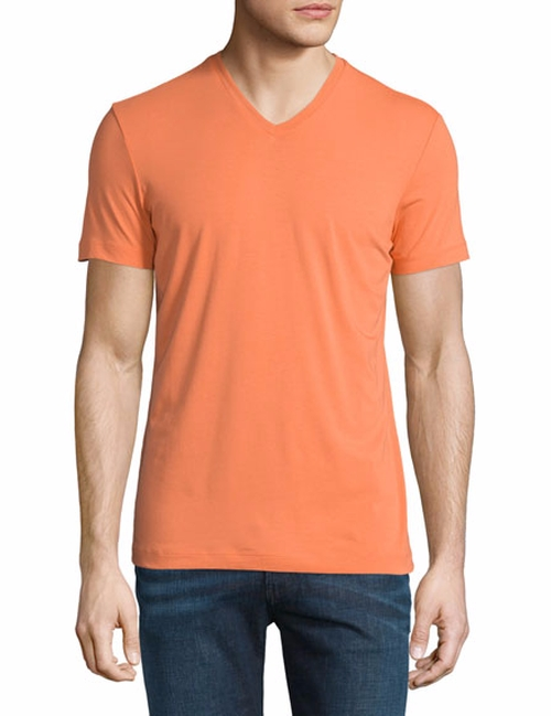 Short-Sleeve V-Neck Jersey T-Shirt by Armani Collezioni in Rosewood