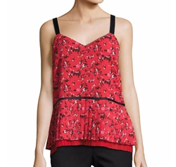 V-Neck Pleated Abstract-Print Silk Cami by Grey by Jason Wu in Quantico