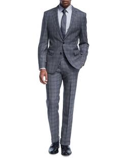Double-Windowpane Melange Suit by Boss in Power