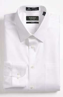 Smartcare Trim Fit Twill Dress Shirt by Nordstrom in Hot Pursuit