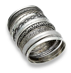 Bar III Set of 13 Silver-Tone Multi Bangle Bracelets by Macy's in St. Vincent