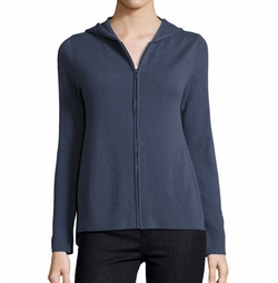 Zip-Front Drawstring Hoodie by Neiman Marcus Cashmere Collection in Quantico