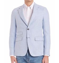 Notch Lapel Virgin Wool-Silk Sportcoat by Faconnable in Rosewood
