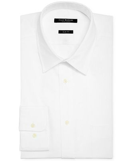 Slim-Fit Twill Solid Dress Shirt by Isaac Mizrahi in Black Mass