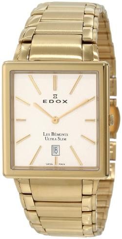 Men's 27031 37J AID Les Bemonts Rectangular Ultra Slim Watch by Edox in Get On Up