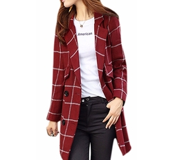 Double-Breasted Plaid Wool Blend Coat by Lingswallow in Pitch Perfect 3