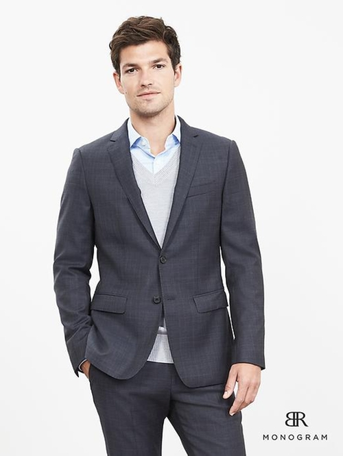 BR Monogram Plaid Italian Wool Suit Jacket by Banana Republic in Chelsea - Season 1 Episode 1