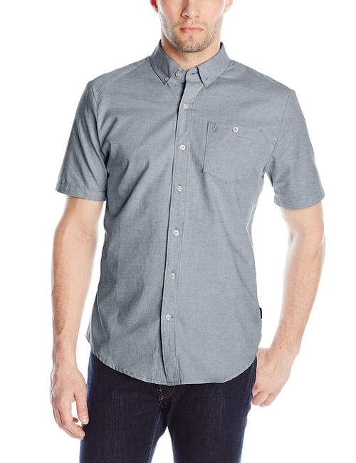 Everett Oxford Short Sleeve Shirt by Volcom in Paper Towns