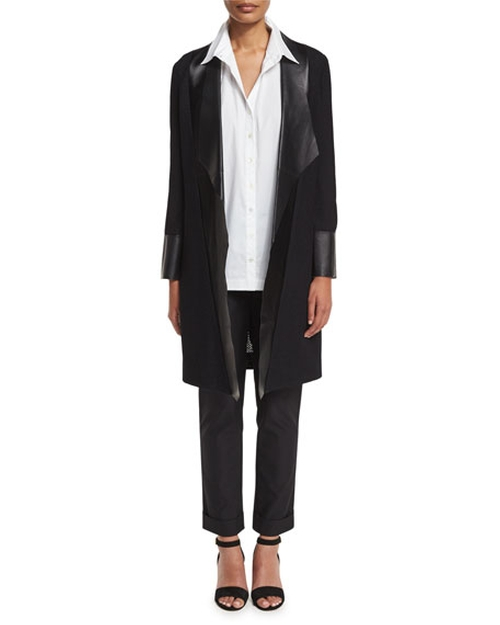Long Leather-Trim Jacket by Misook Collection in Miss Sloane