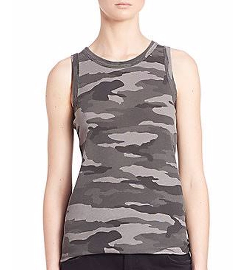 Sleeveless Camo Muscle Tee by Current/Elliott in Sisters