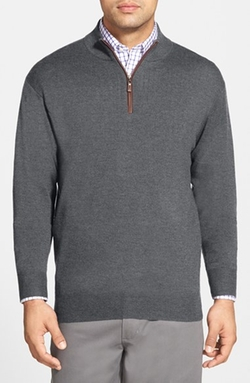 Leather Trim Quarter Zip Pullover Sweater by Peter Millar in The Flash