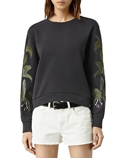 Anya Embroidered Sweatshirt by AllSaints in Pretty Little Liars
