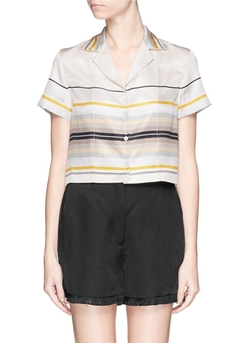 'Cropped League' Variegated Stripe Silk Shirt by Rag & Bone in Rosewood