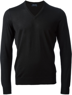 Classic V-Neck Sweater by Drumohr in Steve Jobs