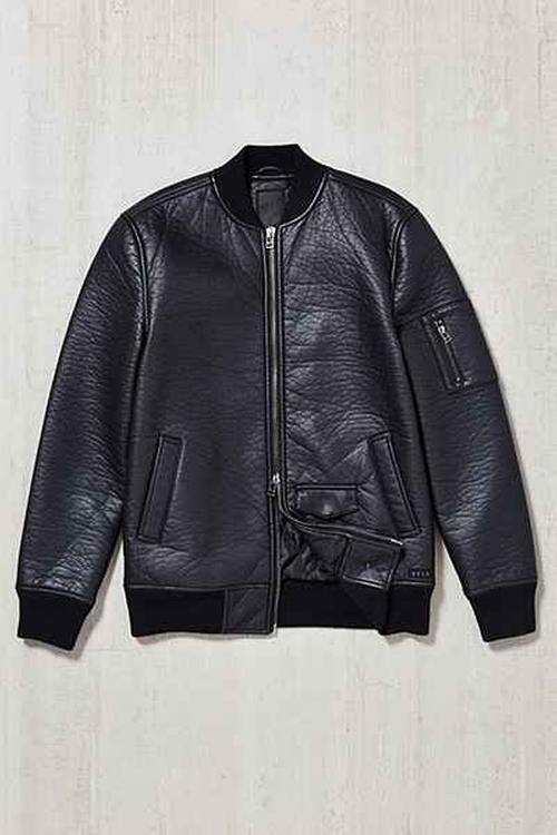 Burnett Faux-Leather Bomber Jacket by KR3W in Straight Outta Compton