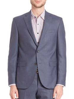 Single-Breasted Wool Blazer by Saks Fifth Avenue Collection in Rosewood