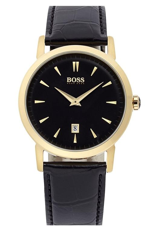 Round Leather Strap Watch by Hugo Boss in Into the Storm