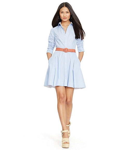Pleated Poplin Shirtdress by Polo Ralph Lauren in Supergirl