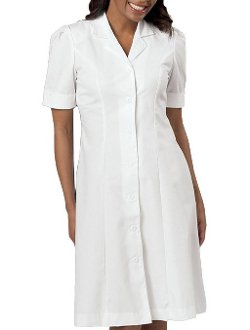 Short Sleeve Button Front White Dress by Peaches in Shutter Island