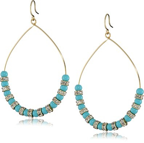 Turquoise and Crystal Beaded Hoop Earrings by Yochi in The Good Wife - Season 7 Episode 2