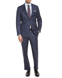 Plaid Two-Piece Wool Suit by Canali in Suits