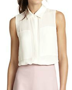 Duria Silk Sleeveless Blouse by Theory in Pretty Little Liars