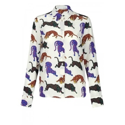 Wilson Wild Cat Print Shirt Cream by Stella McCartney in Elementary