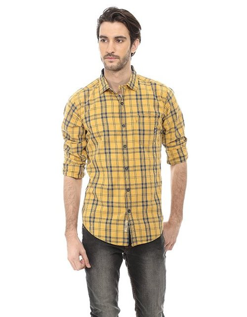 Casual Checkered Yellow Slim Shirt by Basics in The Boy Next Door