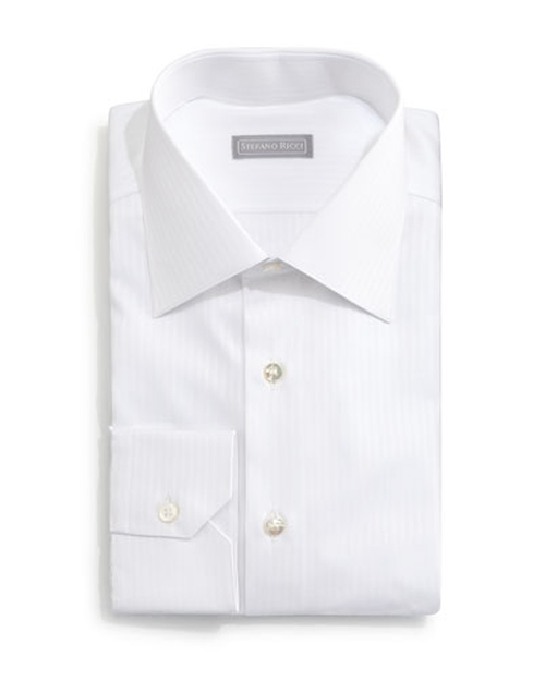Basic White-On-White Striped Dress Shirt by Stefano Ricci in Empire - Season 2 Episode 1
