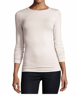 Soft Touch Long-Sleeve Crewneck Tee by Majestic Paris for Neiman Marcus in Suits