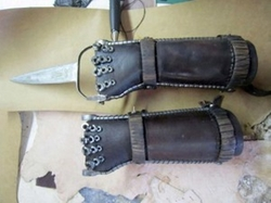 Custom Made Leather Hand Braces (Slit) by Jenny Beavan (Costume Desginer) in Mad Max: Fury Road