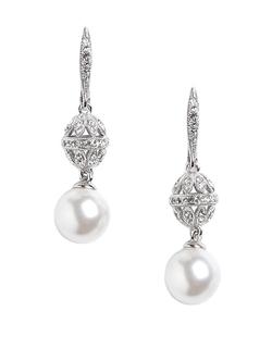Sparkling Faux Pearl Earrings by Nadri in Clueless