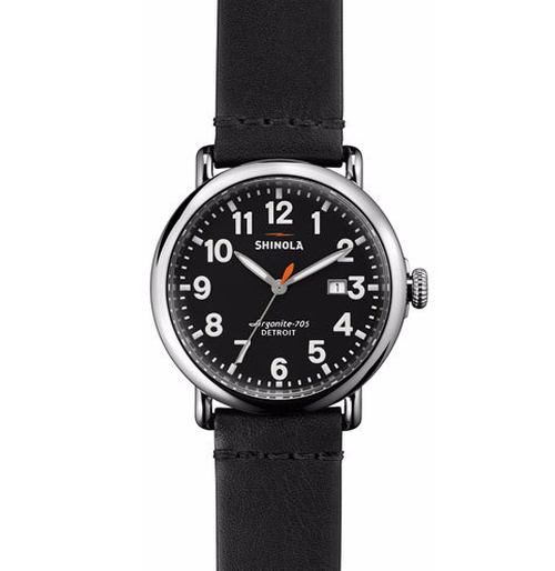 Runwell Leather Watch by Shinola in Justice League