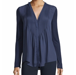 Willow Long-Sleeve Pleated-Bib Blouse by Elie Tahari in How To Get Away With Murder