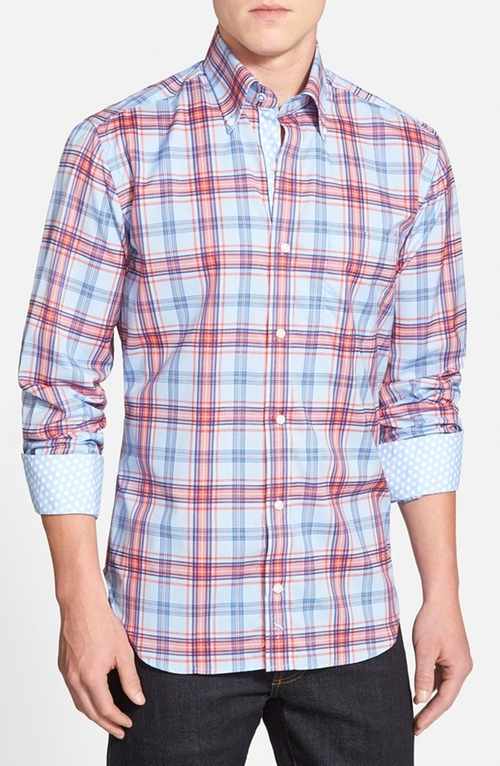 'Island Fin' Regular Fit Plaid Sport Shirt by TailorByrd in Modern Family - Season 7 Episode 2