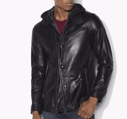 Hooded Leather Jacket by John Varvatos in Power