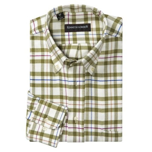 Cotton Plaid Long Sleeve Shirt by Kenneth Gordon in The Best of Me