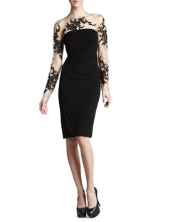Long-Sleeve Embroidered Jersey Dress by David Meister in The Good Wife