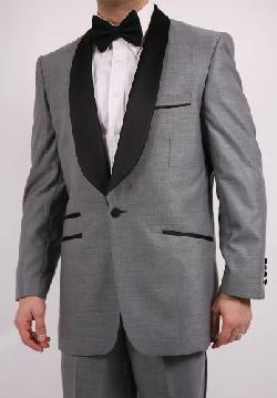 Classy Men's 1 Button 2 Piece 3 Pockets Chester Gray and Black Slim Fit Tuxedo by King Formal Wear in The Wolf of Wall Street