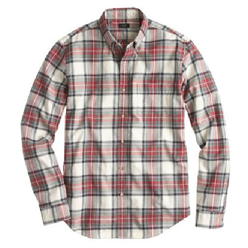 TALL VINTAGE OXFORD SHIRT IN WASHED RED PLAID by J. Crew in Godzilla