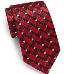 Diamond-Print Silk Tie by Saks Fifth Avenue in Birdman