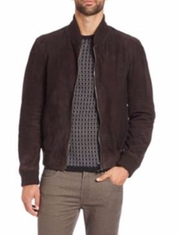 Suede Bomber Jacket by Saks Fifth Avenue Collection in Interstellar