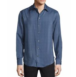 Windowpane Fine-Stripe Silk Sport Shirt by Armani Collezioni in Scream Queens