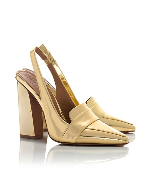 Sadie Metallic High-Heel Slingback Pumps by Tory Burch in Pretty Little Liars - Season 6 Episode 14