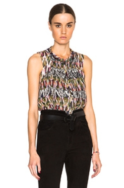 Pleane Printed Patchwork Silk Top by Isabel Marant in Mistresses