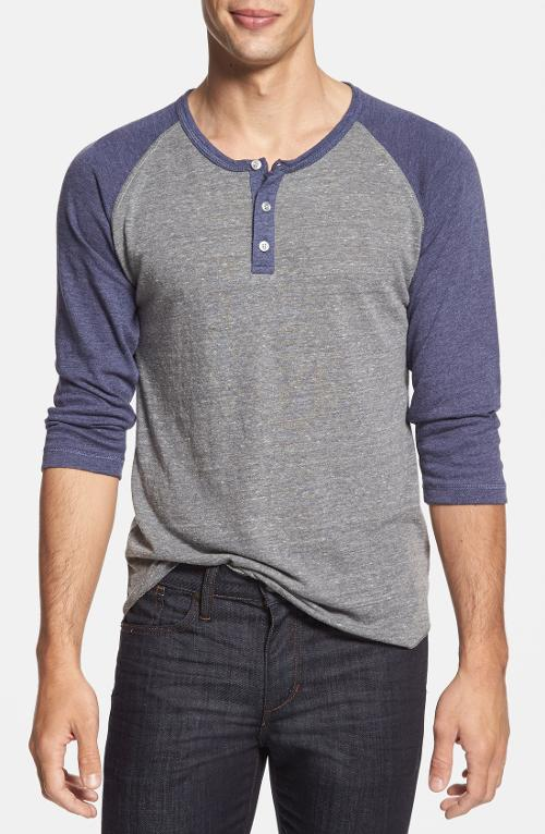 Trim Fit Heathered Raglan Henley by Alternative in Ride Along