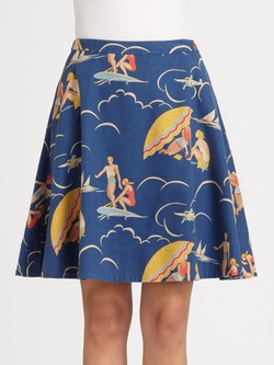 Mikaela Retro Print Skirt by Ralph Lauren Blue Label in Me Before You