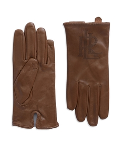 Logo Peforated Leather Gloves by Lauren Ralph Lauren in Jane Got A Gun