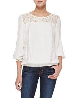 Kulani Lace-Inset Top by Joie in Rosewood
